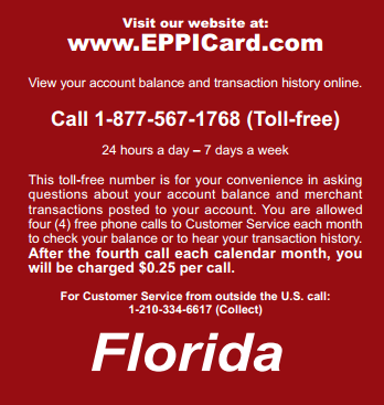 """florida child support eppicard customer service number"""