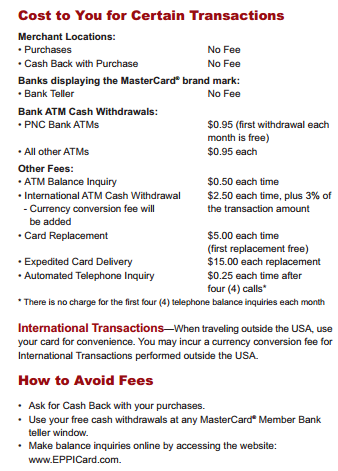 """florida eppicard charges and ATM fees"""