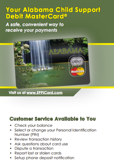 """Alabama Child Support Debit MasterCard Balance"""